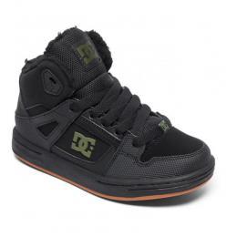 dětské zimní boty DC Pure High Top 18/19 BLACK/BLACK/GREEN (XKKG)