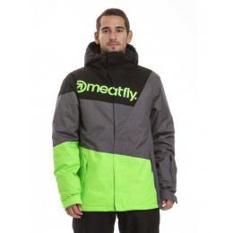 Pánská zimní bunda Meatfly Trick 3 18/19 B - Safety Green/Grey Heather/Black