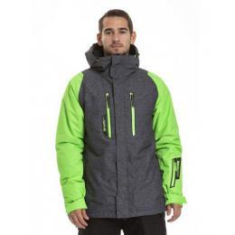 Pánská zimní bunda Meatfly Ridge 2 18/19 B - Grey Heather Twill/Safety Green