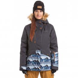 Dámská Snowboardová bunda Meatfly Athena  19/20 E - Ebony Stripe, Landscape Blue